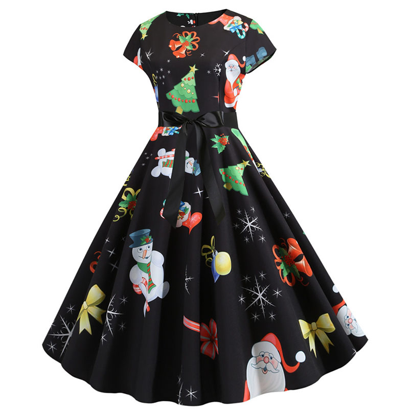 Women Christmas Party Dress robe femme Plus Size Elegant Vintage Short Sleeve Xmas Summer Dress Black Casual Midi Jurken Vestido 786
