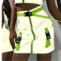 Сексуальные Светоотражающие юбки, женские юбки-карандаш с завышенной талией, юбки-карандаш на молнии спереди с неоново-зеленой пряжкой и по...