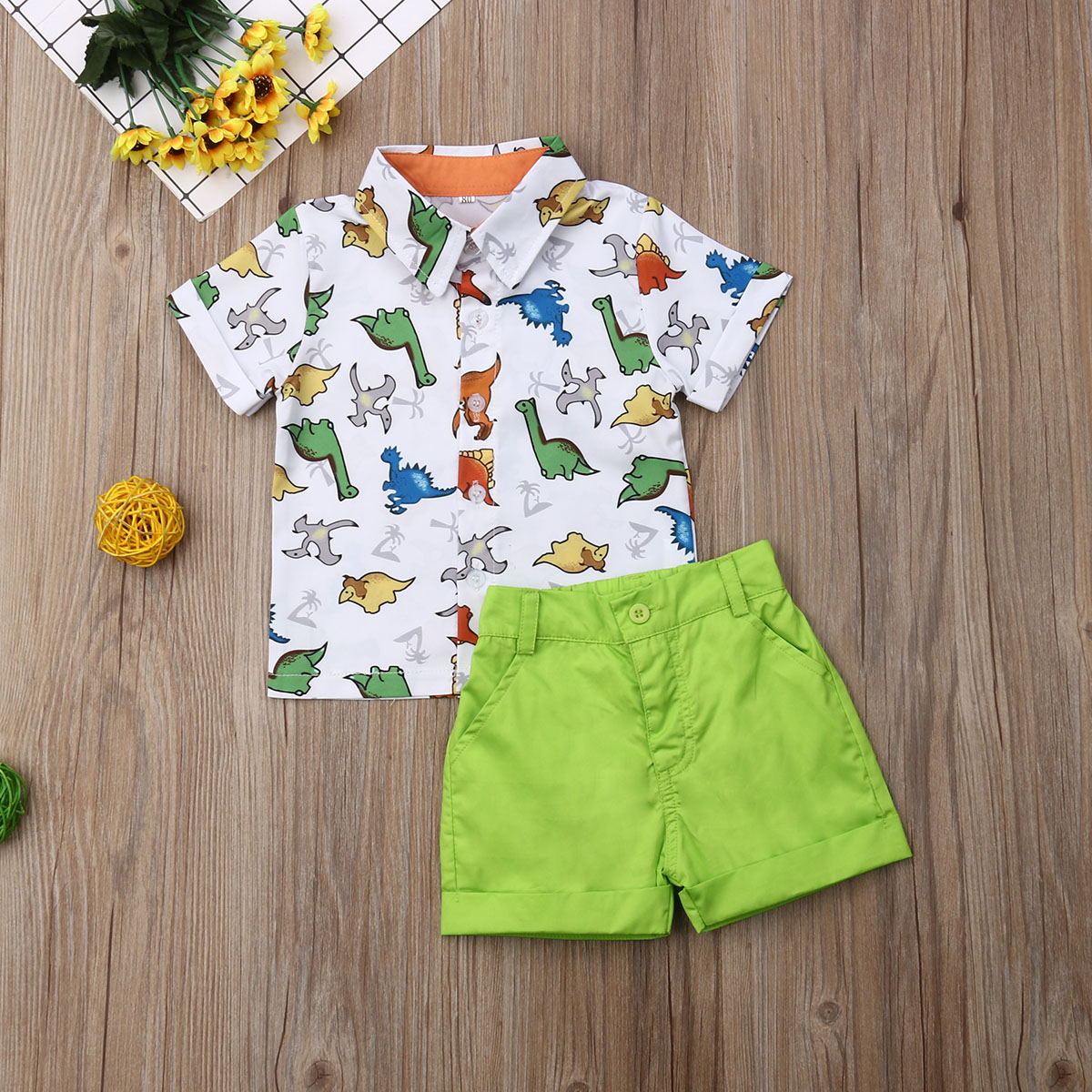 Emmababy Summer Toddler Baby Boy Clothes Multi Dinosaur Print Shirt Tops Short Pants 2Pcs Outfits Casual Clothes Summer