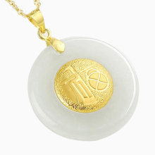 Chinese Fu PingAnKou Jade Necklace Hetian Jade Safety Button Pendant Lucky Amulet 24K Gold Lovers Jewelry(China)