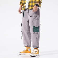 Men Side Pockets Casual Loose Pants Straight-leg Men Pants Men Side Pockets Cargo Harem Pants grey causal two side pockets hoodie