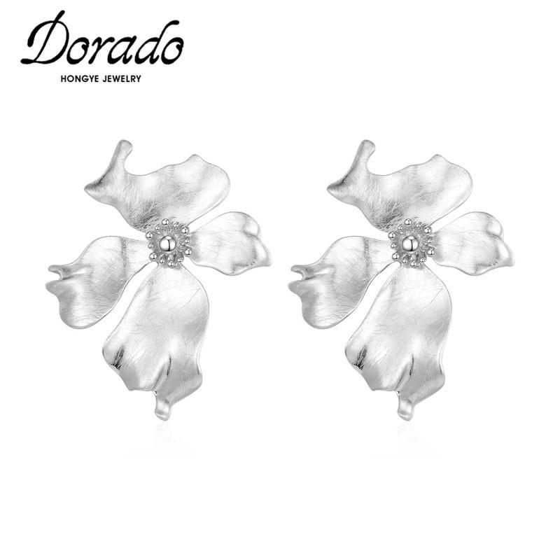 Dorado-pendientes de tuerca con forma de flor grande para mujer, nuevo, Punk, alta calidad, Joyería Moderna, Popular, 2020