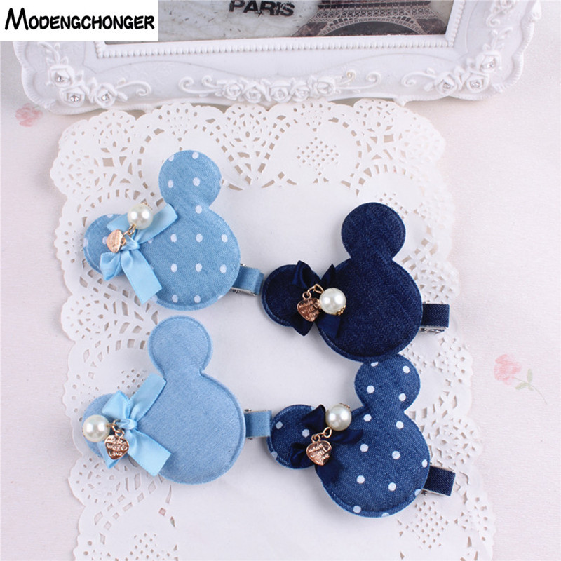Denim Rabbit Mickey Baby Girls Hair Clips Polka Dots Minnie Dog Flower And Hreat-shaped Tiny Bow Hairpins Kids Hair Accessories