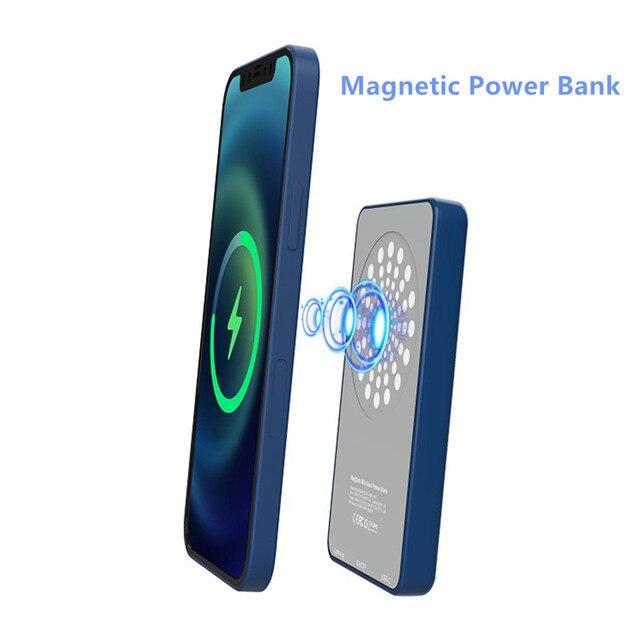 15W dla iPhone 12 Mini Max Magsafe Qi bezprzewodowa ładowarka 5000mAh Power Bank dla iPhone 12 11 Pro wspornik zapasowy przenośny Powerbank