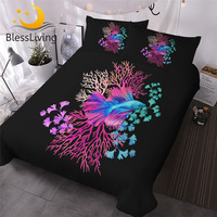 BlessLiving Fish Bedding Set Queen Corals Watercolor Duvet Cover Colorful Underwater Wildlife Quilt Cover Sea Weed Bedclothes