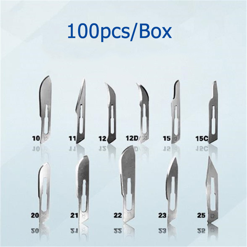 100pcs/Box Dental Surgical Blades Stainless Steel Surgical Blades Sterilization Blades Technician Blades 10 Types To Choose