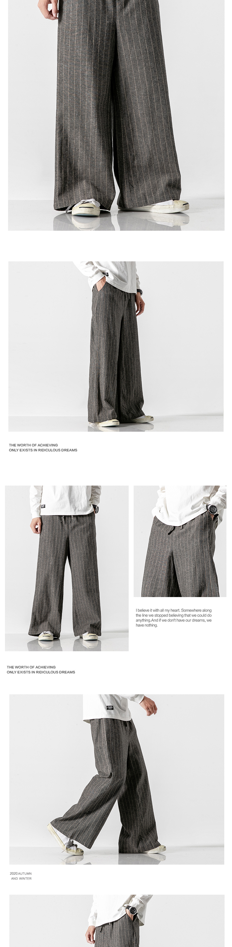 Sinicism Store Men Striped Chinese Style Wide Leg Pants Mens 2020 Japan Style Loose Trousers Male Oversize Vintage Casual Pants 31