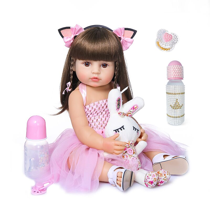 Free shipping from Brazil 55cm Full Silicone Body Reborn Baby Doll Toy For Girl Vinyl Newborn