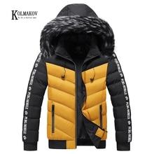 Jacket Men Parkas Coats Windbreaker Fur-Collar Hooded Warm Thick Winter Cotton KOLMAKOV