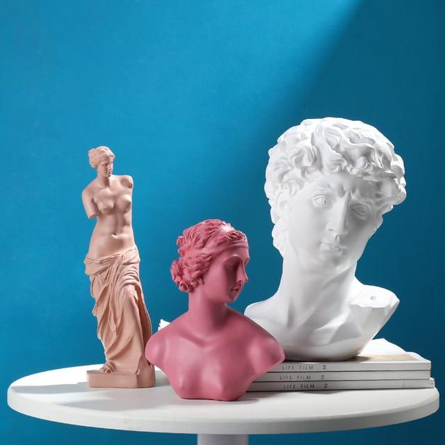 David Head Portraits Bust Venus Mini Gypsum Statue European imitated plaster resin Michelangelo Sculpture Home Decoration 2