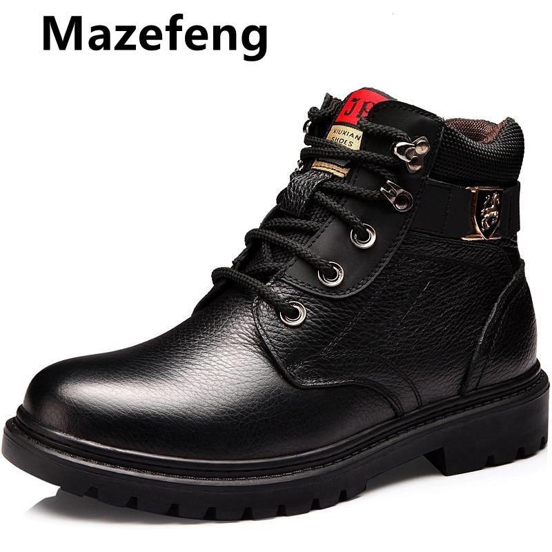 Mazefeng New Fur Warm Men's Casual Boots Cotton Shoes Leather Winter Flannel Martin Boots Men's Army Boots Anti-skid Men's Shoes