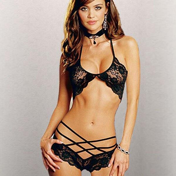 Women Sexy Lingerie Bandage Lace Underwear Babydoll Sleepwear G-string Bra Set