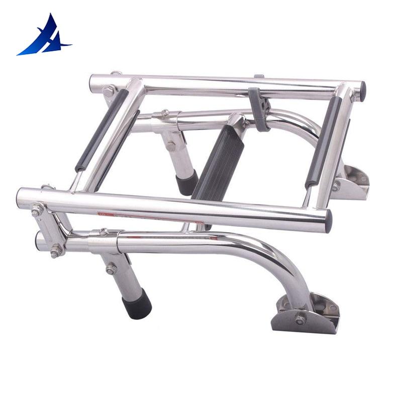 Boat Accessories Marine 3 Step Folding Ladder Boat Marine Stainless Steel Pontoon Ladder Polished 2+1 Step