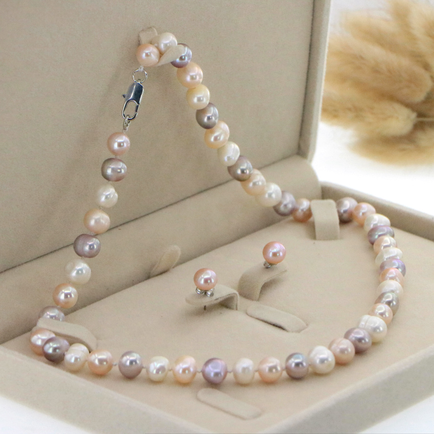 """Beautiful 8-9mm White Akoya Pearl Necklace Earring 17.5"""" Wedding Jewelry Sets for Women In Jewelry Sets Gift Wholesale 5"""