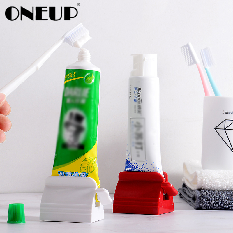 ONEUP Multifunction Rolling Tube Toothpaste Squeezer Dispenser Toothpaste Seat Holder Stand Roller Home Bathroom Accessories Set