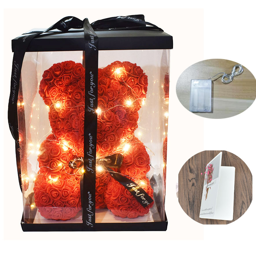 Dropshipping 40cm Soap Foam Rose Bear with Led light Free Gift Card In gift box For valentines Day and Girldfriend(China)