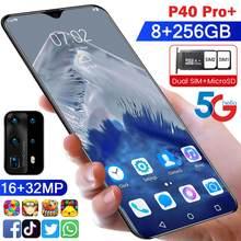 Mais novo p40 pro + smartphone android 8gb ram 256gb rom 5000mah deca núcleo cpu celular em estoque 6.6