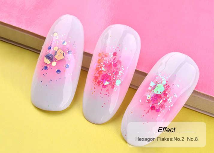 Arte de unha sereia 3d, decoração de manicure com brilho em pó, esmalte holográfico, 1 caixa