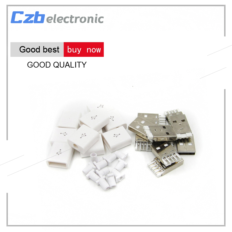 10Pcs/Set DIY USB 2.0 Type A Male 4P Adapter Connector Plug Socket With Plastic Shell W315 White
