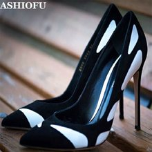 ASHIOFU Handmade Women High Heel Pumps Patchwork Party Prom Slip-on Dress Shoes Sexy Evening Daily Wear Fashion Court Shoes(China)