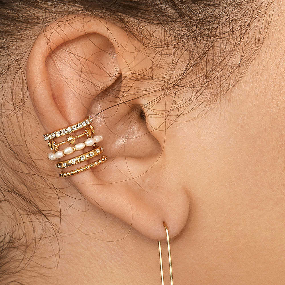 Trendy Pearl คลิปบนต่างหู Earcuffs สำหรับผู้หญิงสี C STACKABLE CZ หู Cuff ไม่มีเจาะงานแต่งงานเครื่องประดับ 2020