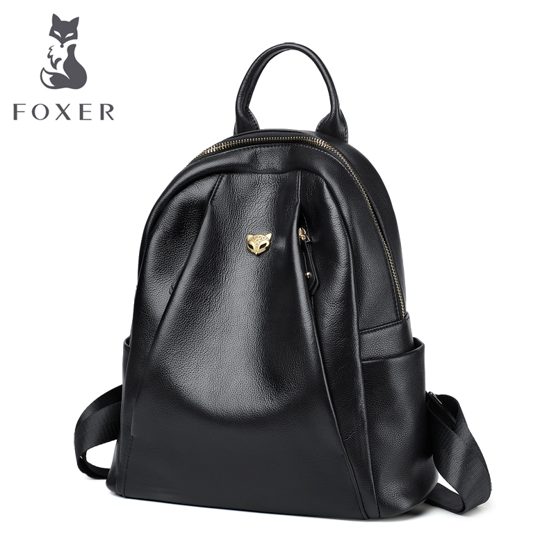 FOXER Women Genuine Cow Leather Commuter Style Backpacks Girl's School Bags Ladies Soft Preppy Style Female Fashion Travel Bags