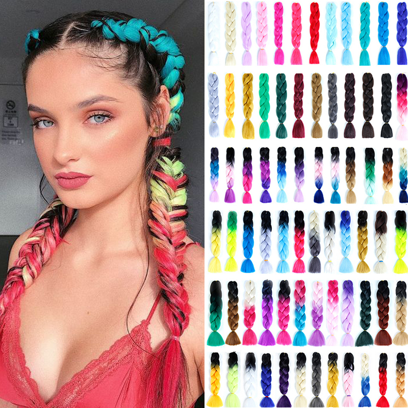 MUMUPI 24 Inch Jumbo Braids Long Ombre Jumbo Synthetic Braiding Hair Crochet Blonde Pink Blue Grey Hair Extensions African