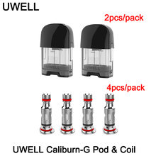 Original uwell caliburn g vazio pod cartucho 2ml capacidade 0.8ohm 1.0ohm malha bobina cabeça e cigarro para caliburn g/koko prime