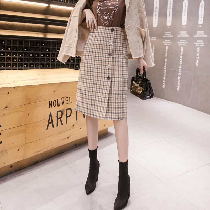 Winter Retro Wool Skirt Female Autumn And 2019 New England Style Plaid Pencil Skirt Women Back Split Office Skirts Womens Mujer