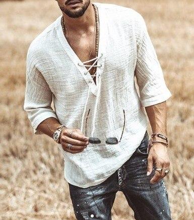 Рубашка хиппи мужская с рукавом средней длины, модная Повседневная дышащая пляжная свободная футболка с V образным вырезом, однотонная, рубашка, лето 2021 Футболки      АлиЭкспресс