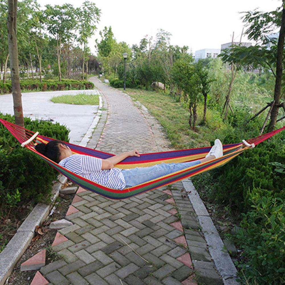 1-2 Person Garden Hammock Portable Outdoor Hammock Sports Home Travel Camping Swing Chair Canvas Stripe Hang Bed Hammock