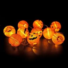 Battery Operated Halloween Pumpkin led string lights Halloween Holiday Christmas Party Garden Decoration Lanterns Light 2020 brand new 1 2m 10 bulbs pumpkin battery string led lights halloween holiday light lighting decoration led