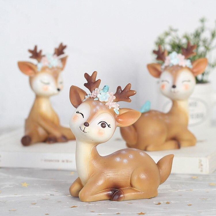 Cute Sika Deer Fairy Garden Miniatures Resin Crafts Animal Model Figurines For Home Desktop Car Decoration Ornaments Kids Gift