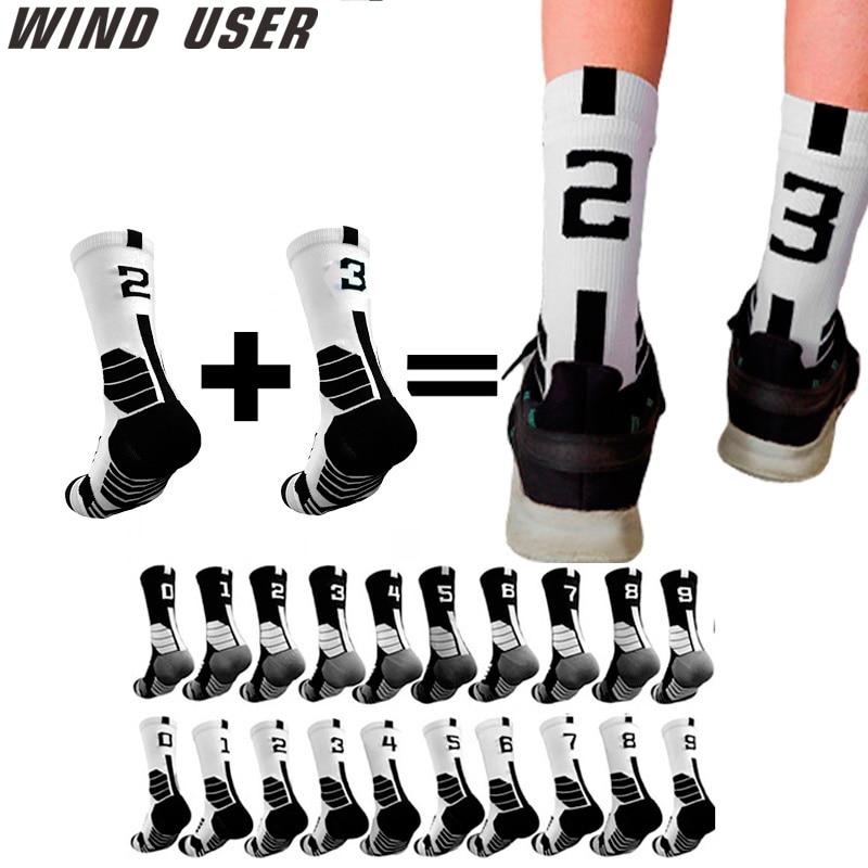 Профессиональные баскетбольные носки 0-9 с бесплатным сочетанием, толстые спортивные носки, Нескользящие прочные носки с полотенцем для ске...