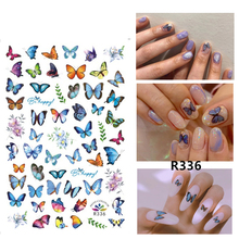 Self-adhesive 3D Stickers for Nails Blue Butterfly Flowers Nail Art Decorations Small