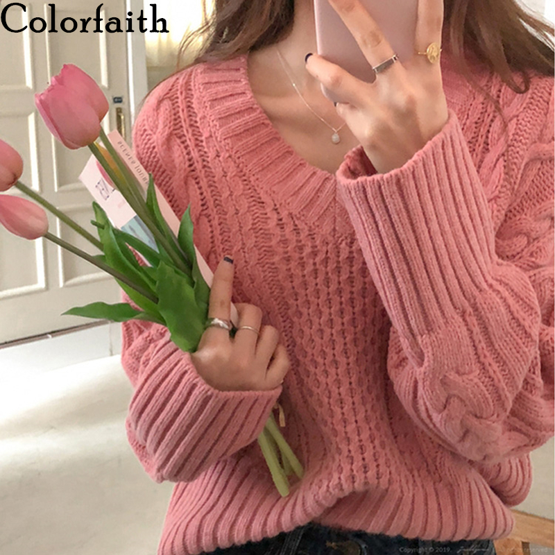 Colorfaith New 2019 Women's Pullovers Sweaters Knitting Autumn Winter Solid Warm Korean Style Casual Loose Female Tops SW9081