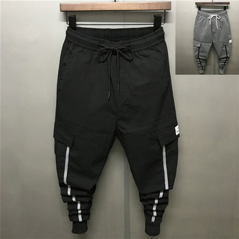 2018 Summer New Thin Slim Mne's Pencil Pants Pockets Solid Ankle-Length Elastic Boy Casual Trousers Drawstring Middle Waist City