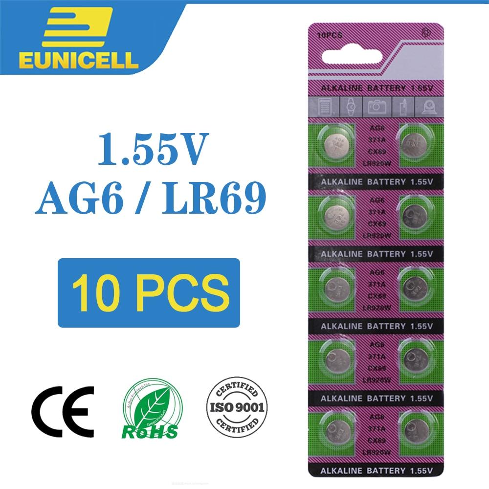 10pcs Alkaline Cell Coin Battery 1.55V AG6 LR920 Button Batteries  371A CX69 LR920W 371 L921 SR927 171 G6A AG 6 For Watch Toys