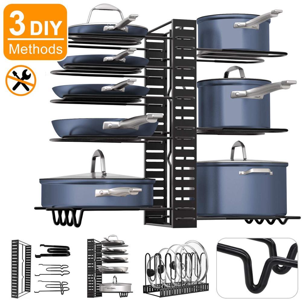 Pot Rack Organizer For Cabinet, Pots Pans Organizer Rack With 3 DIY Methods 8 Tires Adjustable Kitchen Pan Pot Storage Organizer