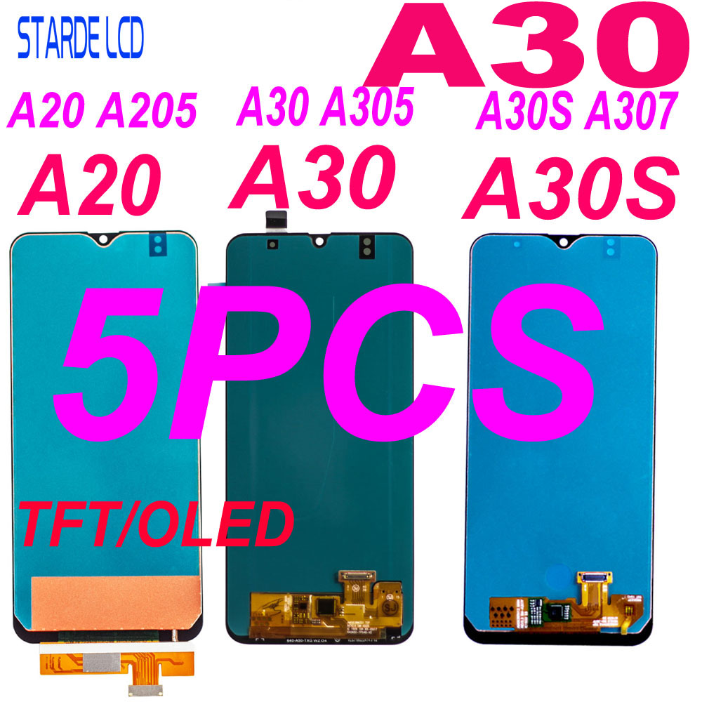 5 Pcs <font><b>LCD</b></font> For <font><b>Samsung</b></font> A20 A205 SM-A205F Display <font><b>A30</b></font> A305/DS A305F A305FD A305A A30S A307 A307F Touch Screen Digitizer Assembly image