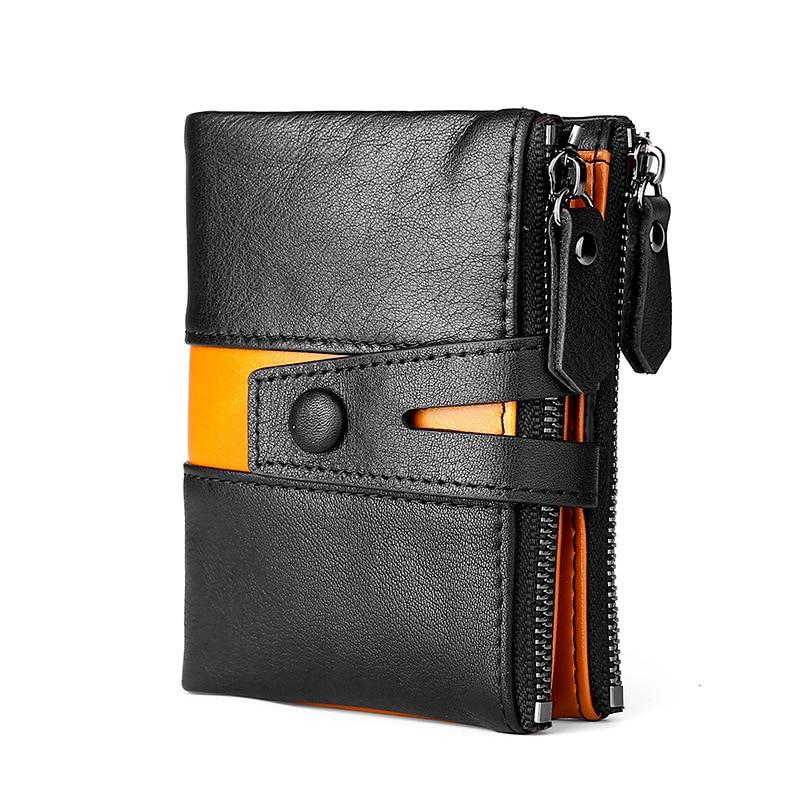 2020 Coin Bag Zipper Wallet Men Genuine Leather Wallets Purse Fashion Short Purse With Credit Card Holder Hasp Design