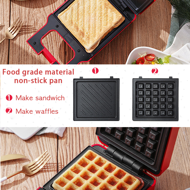 ANIMORE Electric Egg Sandwich Maker Mini Grilling Panini Baking Plates Toaster Multifunction Non-Stick waffle Breakfast Machine 4