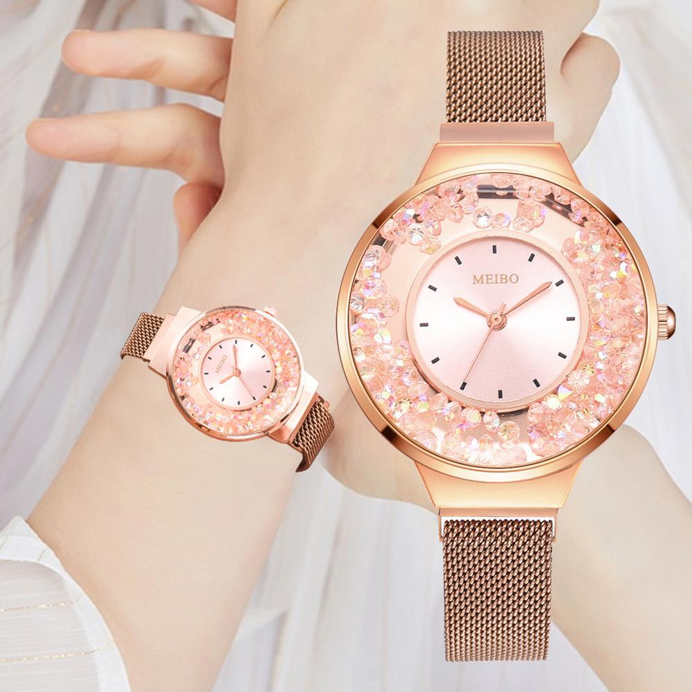 Fashion Women's Watches Casual Mesh Rhinestone Quartz Analog Watches Girls Bracelets Saati Ladies Dress Watch Reloj Mujer