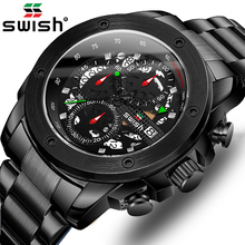 SWISH Black Chronograph Watch Round Wrist Watches