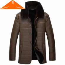 Jas 100% Echt Mannen Kleding 2020 Winter Warme Wollen Voering Jas Nertsen Bontkraag Business Heren Lederen Jassen 9992(China)