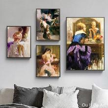 Nenhuma imagem da impressão do quadro figura sexy menina mulher arte imprime poster impressões da lona pintura a óleo impresso na lona decoração da parede imagens