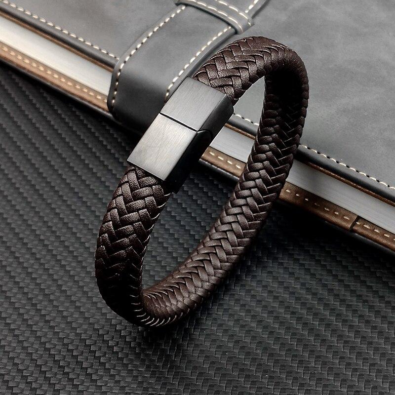 Bracelets breloques pour hommes, Punk, 16 brins, noir et marron, en cuir tressé, acier inoxydable, fermoir magnétique, bijoux pour femmes 3