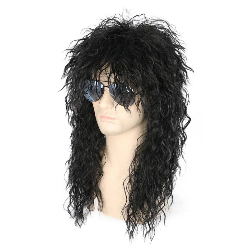 Men Boys Natural Soft  Fashion Cool Retro Rock&roll Style Black Long Curly Realistic Hair Wig