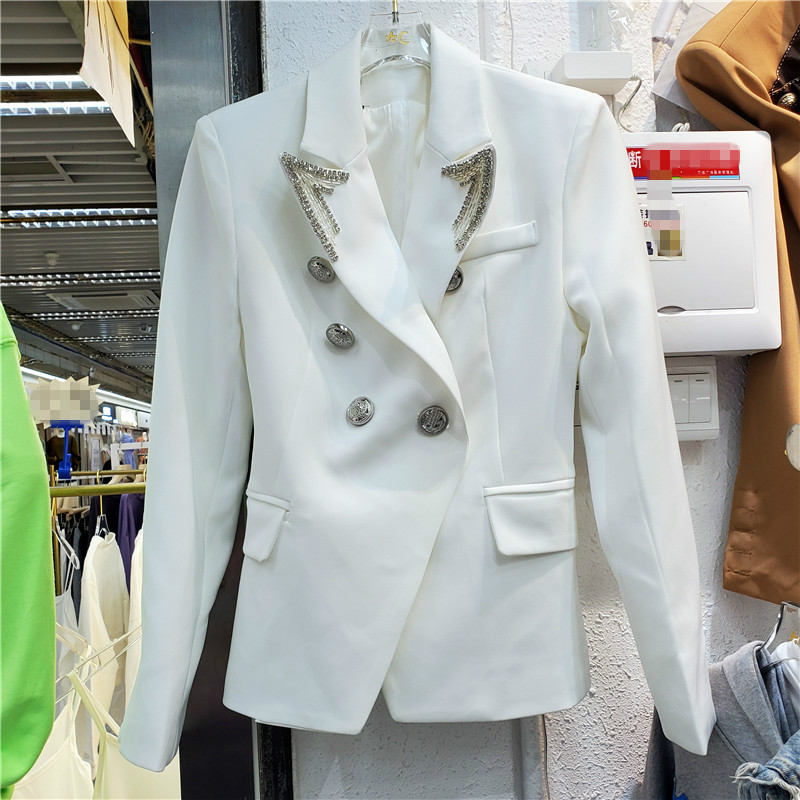 Blazer Coat Female 2020 Autumn New Fashion Handsome Double Breasted Crystal Slim Suit Jacket Business Women's Coat Coats