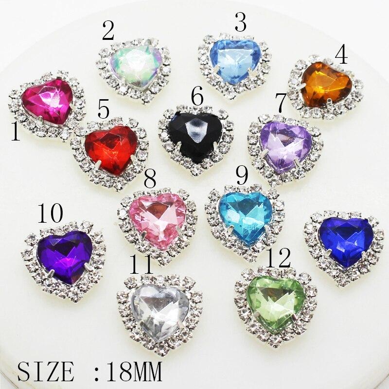 10 Sztuk/lot 18 MM Srebrne Metalowe Heart MixedAcrylic Diarhinestone Przycisk DIY Do Dekoracji ślubnych Do Szycia Guziki Do Odzi